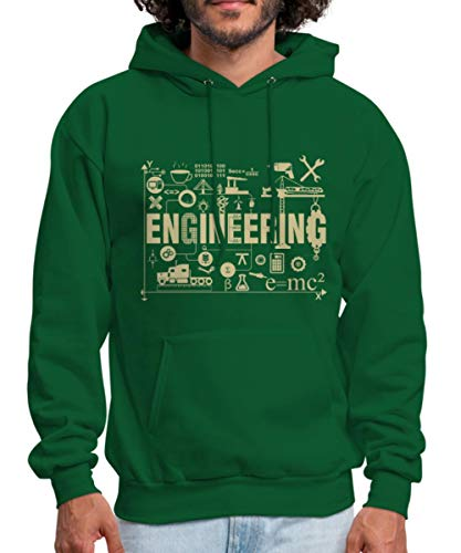 Engineer Occupations Mens Hoodie - Spreadshirt Engineering Collage Men's Hoodie, S, Forest Green