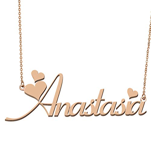 Anastasia Necklace - Aoloshow Customized Custom Name Necklace Personalized - Custom Made Anastasia Necklace Initial Monogrammed Gift for Womens Girls