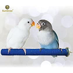 SunGrow Bird Perch - Naturally Keeps Pet Bird Nails Trim & Beaks Smooth - Satiates Pecking Instinct - Quartz Sand Covered - Perfect Length for Lovebirds, Budgies, Finches