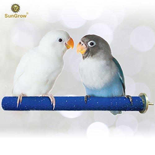 SunGrow Bird Perch - Naturally Keeps Pet Bird Nails Trim & Beaks Smooth - Satiates Pecking Instinct - Quartz Sand Covered - Perfect Length for Lovebirds, Budgies, Finches -