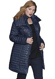 Roamans Women\'s Plus Size Quilted Coat Navy,30 W