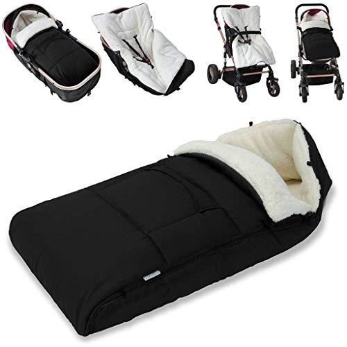 Pollyhb Winter Outdoor Tour Waterproof Baby Infant Universal Stroller Sleeping Bag, Footmuff, Baby Bunting Bag, Baby Cozy Stroller Blanket, Adaptable for Universal Stroller (Black)