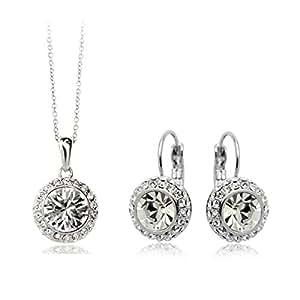 Flammee-Colgante para mujer de collar y hebilla de sujeción deben Diaments simulado, diseño con cristales, color blanco