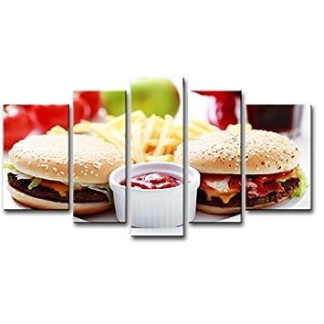 5 Panel de pared Art PINTURA Salsa de hamburguesas patatas fritas fotos impresión sobre lienzo comida la imagen Decor aceite para decoración de hogar ...