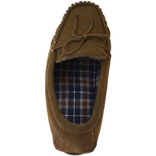Pantoufles Snugrugs Pour Hommes Avec Doublure En Coton Style Tartan Et Semelle En Caoutchouc Marron