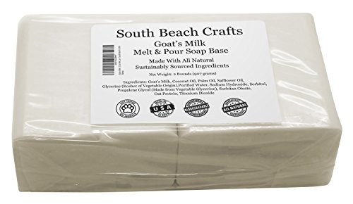 Goats Milk - 2 Lbs Melt and Pour Soap Base - South Beach Crafts (Milk Shaving)