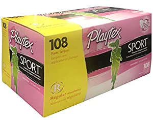 Playtex Sport Plastic Tampon, Regular Absorbency, 108 Count