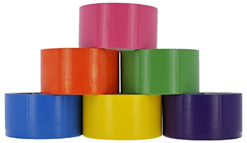 RAM-PRO Heavy-Duty Duct Tape | Assorted Fluorescent Colors Pack of 6 Rolls, 1.88-inch x 10 Yard – Colors Included: Green, Yellow, Purple, Blue, Pink & Orange. by Ram-Pro