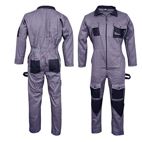 Norman Grey Men's Coveralls Boiler Suit Overalls for Warehouse Mechanics Work Wears (L) by Norman (Image #1)