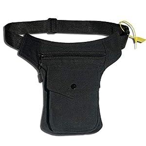 HAND-PRO Riñonera Lateral Hombre Bolso Cintura y Pierna Hippie Riñonera Lateral Mujer Bolso de Lona Negra Grande bolsito… | DeHippies.com