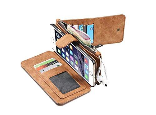 Negro Multi-function Wallet Funda de Cuero para Apple iPhone 6 Plus / 6S Plus 5.5,Yihya 2 in 1 Detachable Leather Folio Flip Wallet Stand Cover Carcasa con Card Slots + Stylus Pen--Black Marrón