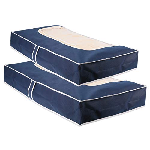 Houmagic Large Storage Bags for Clothing Blanket Sweater (2 Pack) Collapsible Under Bed Storage Bag Bedding Storage Bags, Blue