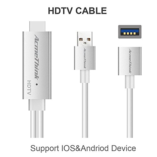 Universal USB to HDMI HD Mirror Adapter Cable Compatible With Lighting Andriod Mrico USB-C Digital AV to 1080P HDMI Converter for Samsung Galaxy iPhone iPad Smartphones Tablets to Mirror (Samsung Tablet Hdmi Cable)