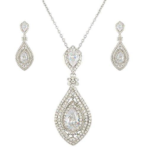 EVER FAITH® Cristal Autrichien Mariage Luxueux Zircone Poire Parures Bijoux Ton Argent Transparent