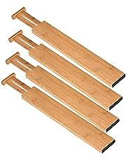 Ysislybin Lade verdeler 4-delige set, ladeverdeler verstelbaar bamboe, uitbreidbare ladeverdeler voor keuken, slaapkamer, commode, bureau