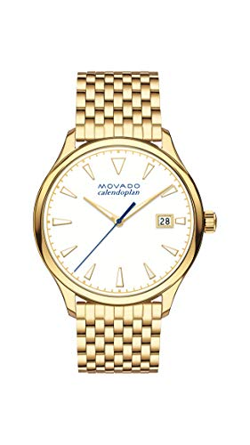 Movado Women's Heritage Yellow Gold Watch with a Printed Index Dial, Gold/White (Model ()