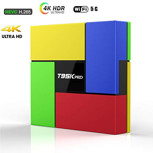 LQQZZZ Android 7.1 TV Box, 4K 2GB RAM 16GB ROM Quad-Core TV Box Wifi 5Ghz H.265 BT4.1 Set-Top Box Player