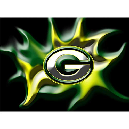 HSQMA Diamond Painting Full Square/Round Drill Green Bay Packers Team Logo American Football 5D Diamond Painting Mosaic - Packers Diamond Bay Green