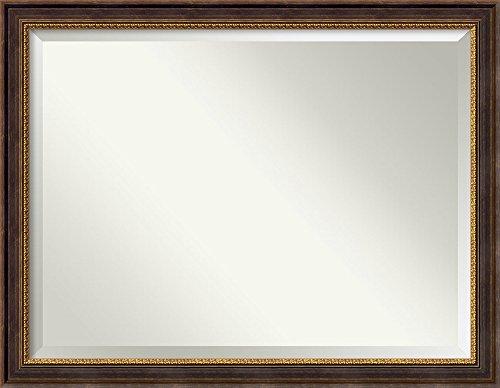 (Amanti Art Vanity Bathroom Wall   Veneto Distressed Black Frame   Solid Wood Mirror  , Glass Size 40x30,)