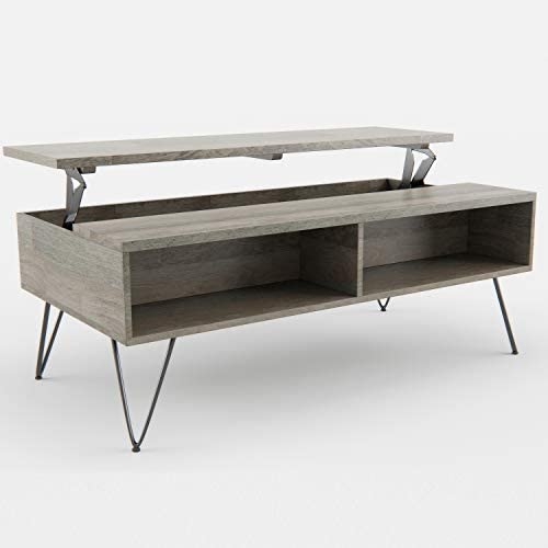 Simpli Home Hunter SOLID MANGO WOOD and Metal 48 inch Wide Rectangle Industrial Contemporary Lift Top Coffee Table in Grey with Storage, 2 Shelves, for the Living Room, Family Room