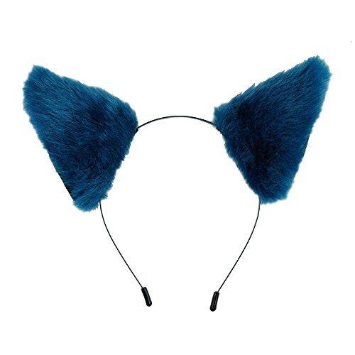 Anime Cat Costumes (E-TING Cat Fox Fur Ears Headband Anime Party Costume Dark Blue with Black Inside)