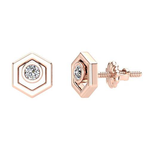 Hexagonal Shaped Diamond Earrings 10K Rose Gold 1/10 ct (Glitz Design)