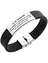 to My Daughter Always Remenber You are Braver Girls Bracelet Gift Idea from Dad and Mom (Black)