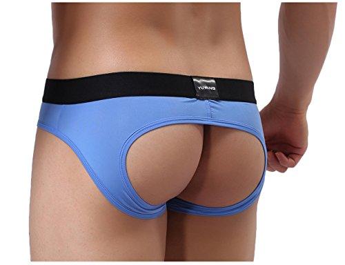 YuKaiChen Men's Jockstrap Athletic Sexy Gay Underwear for Sex Briefs Low Rise Blue Large