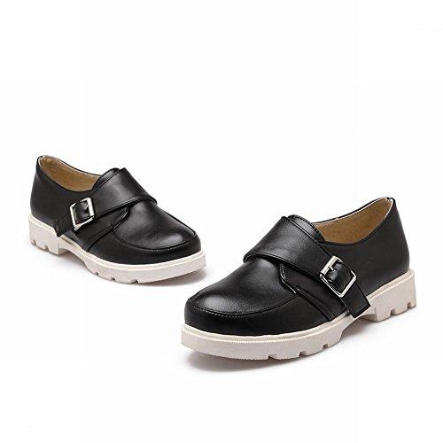 Carolbar Femmes Mode Casual Neutre Boucle Rétro Confort Appartements Chaussures Noir