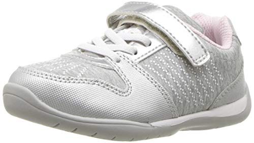Stride Rite Girls' Avery Sneaker, Silver, 8 W US Toddler