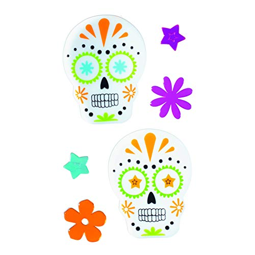 TRIXES Multicoloured Skull Floral Halloween Window Gel Cling Decorations