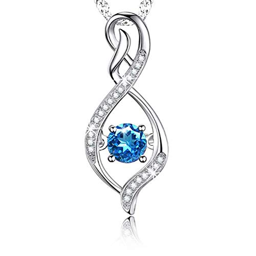 Wonderland Double Helix Flame Design Sterling Silver Pendant Necklace with Flower Shape Cubic Zirconia Heart Christmas Thanksgiving Jewelry Gifts