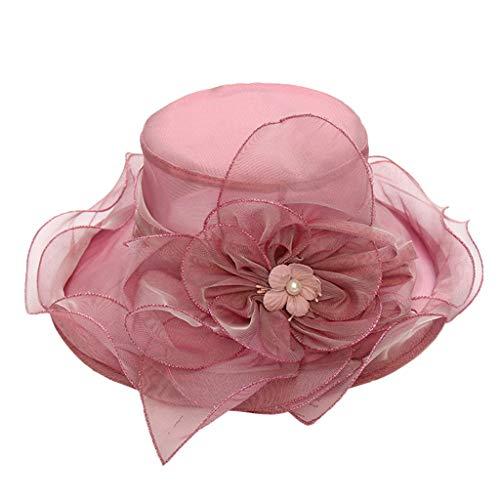 (Outique Women Organza Kentucky Derby Church Dress Bridal Fascinator Wide Brim Wedding Tea Party Hats Purple )