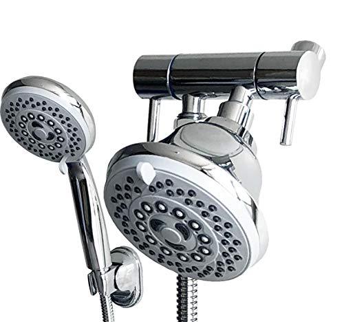 MissMin Dual Handles Shower Head combo,Chrome - All Metal Shower Arm Diverter