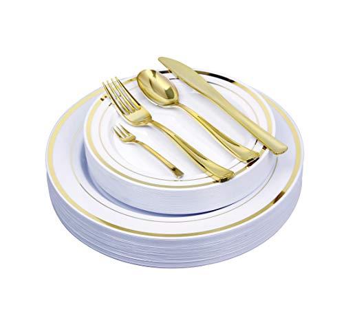 125 Pieces Premium Quality Heavyweight Tableware/Elegant Plastic Disposable dinnerware: 25 Dinner Plates, 25 Salad or Dessert Plates & 25 Polished Gold Forks Knives & Spoons - Bonus 25 Dessert Forks