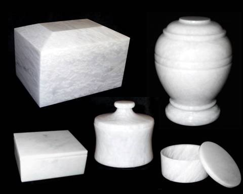 Decorative White Marble Cremation Urn, White Funeral and Burial Urn Vault for Ashes