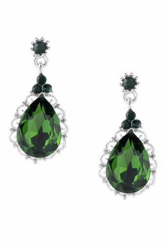- Rhodium Emerald Rhinestone Green Teardrop Shaped Dangle Earrings