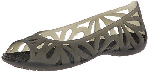 Crocs Women's 16287 Adrina III Ballet Flat,Black/Black,10 M US Croc Peep Toe