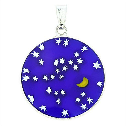 (GlassOfVenice Murano Glass Millefiori Pendant Starry Night in Silver Frame)