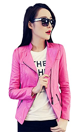 My Wonderful World Women's PU Leather Zip Moto Bomber Jacket XXX-Large Hot Pink