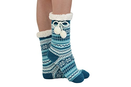 Snoozies Womens Sherpa Lined Knit Festive Winter Fleece with Pom Slipper Socks Size 5-10, Blue 1