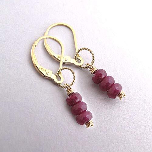 Genuine Ruby Earrings July Birthstone Gemstone Stack 14k Gold Filled Leverback
