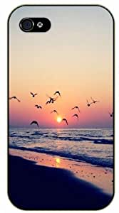 Case For HTC One M8 Cover Beach sunset shore birds - black plastic case / Nature, Animals, Places Series