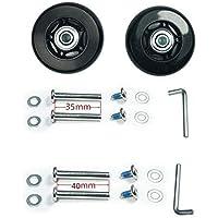 Trolleyshop Wear-Resistant Luggage Suitcase Wheels Kit 64mm x 18mm Wheels ABEC 608zz Skate Inline Outdoor Wheels, One Set of (2) Wheels (OD:64 W:18 ID:6 Axles:35, Axles:40)