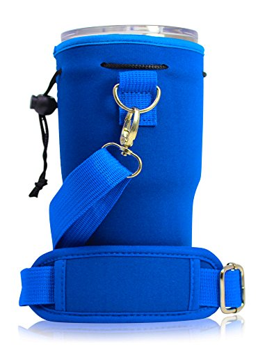 """Neoprene Water Bottle Carrier Bag Pouch Cowl, Insulated Water Bottle Holder (32 oz / 1-1.5L) w/ forty nine"""" Adjustable Padded Shoulder Strap – Great for Stainless Metal, Glass, or Plastic Bottles by MEK – DiZiSports Store"""
