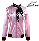 1950s Pink Ladies Satin Jacket Neck Scarf T Bird Women Danny Fancy Dress (XL, Pink)