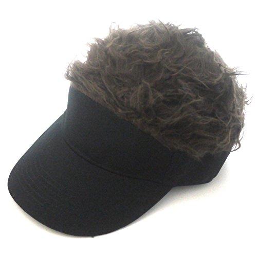 フレアー ヘア バイザー ウィッグ キャップ つけ毛 カツラ 帽子 ゴルフ 釣り アウトドア (ブラウン)
