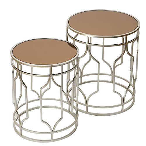 Adeco FT0263 Decorative Nesting Round Side Accent Plant Stand Chair for Bedroom, Living Room and Patio, Set of 2 End Tables Champagne Silver