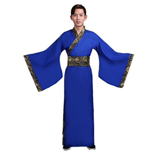 [Ez-sofei Men's Ancient Chinese Han Dynasty Costumes Hanfu Robes (XL, Blue)] (Han Chinese Costume)