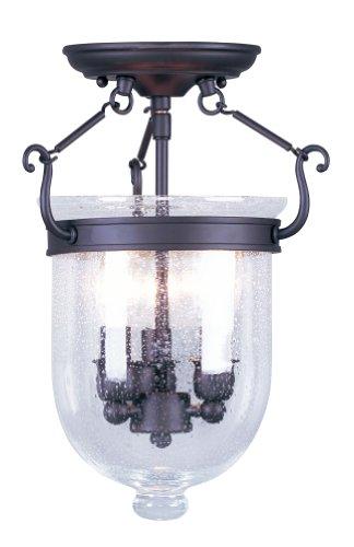 Livex Lighting 5081-07 Jefferson 3 Light Bronze Bell Jar Semi Flush with Seeded Glass - Jefferson Collection 3 Light